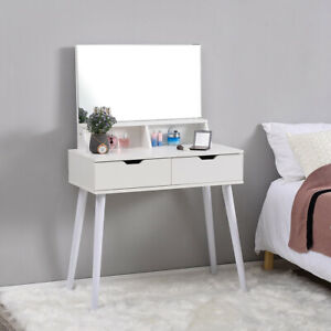White Dressing Table Vanity Makeup Desk with 2 Drawers, Mirror and Shelves