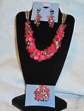 SIMPLY VERA WANG NWT $84 women's necklace ring earrings set raspberry pink