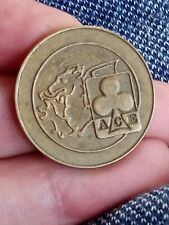 ACE Cafe Gaming Token Bikers 1960's a clover a dragon 10 Pence 10P Brass 27.5 mm