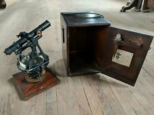 Gorgeous 1880's Antique Heller & Brightly Survey Transit Original Dovetail Case