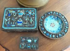 ANTIQUE 3 PIECE ASIAN BRONZE CLOSONNE CIGARETTE BOX, MATCH BOX & ASHTRAY