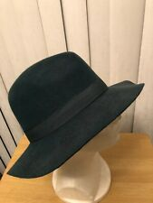 Men's Green Salvaged Wool Yellow 108 Wide Brim Fedora Hat! New-Ex-Display Item S
