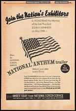 JFK_National Anthem Trailer__Original 1964 Trade AD / poster__John F Kennedy_NSS