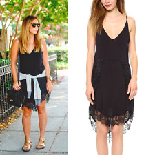 Intimately Free People Black Eyelash Lace Boho Mini Slip Dress. M Anthropologie