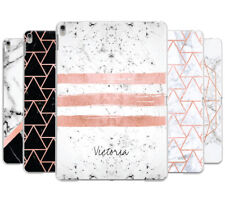 PERSONALISED ROSEGOLD MARBLE/INITIALS BACK CASE COVER FOR APPLE IPAD AIR 2013