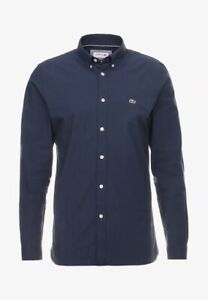 ✅ Lacoste SLIM FIT Herren Langarm Business Hemd Navy Blau M-XXL ✅