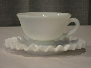 Vintage Fenton Ruffled Milk Glass Cup & Saucer