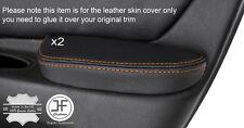 Cuciture color arancio 2x Porta BRACCIOLO IN PELLE copre gli accoppiamenti ALFA ROMEO 166 98-07