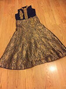 Indian Pakistani Bollywood Punjabi Suit Salwar Kameez Dress Gold Blue Size 12-14
