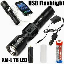 1800LM Zoomable CREE XM-L T6 LED Rechargeable USB Tactical Flashlight Torch U39