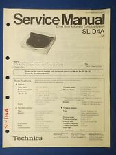 TECHNICS SL-D4A TURNTABLE SERVICE MANUAL ORIGINAL FACTORY ISSUE THE REAL THING