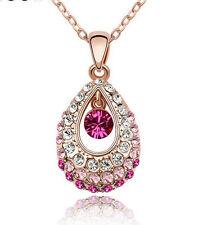 Fashion Women 18k Gold Teardrop Colorful Elegant Rhinestone Crystal Necklace New