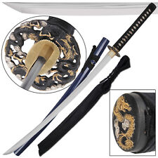 Circle of Dragons Traditional Japanese Samurai Handmade 1090 Carbon Katana Sword