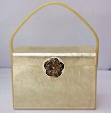 Vintage Wilardy Yellow Marbleized Lucite Box Purse Evening Hand Bag Flower Clasp