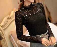 Classy Lace Chiffon Top Blouse Classic Formal Cute Bead Pearl High Neck Work