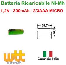 BATTERIA RICARICABILE NI-MH 2/3AAA MICRO 1,2V 300mAh 10,1x28,7mm A SALDARE