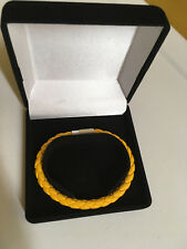YELLOW LEATHER WOVEN LARGE 8 INCH (20CM) BRACELET, UNISEX BY DESIGN. NIBWS