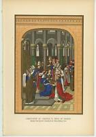ANTIQUE CORONATION OF CHARLES V KING OF FRANCE ECCLESIASSTICAL CHURCH OLD PRINT