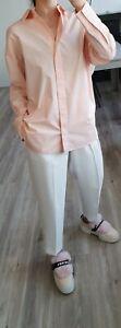 69€ COS COTTON SHIRT long sleeve striped peach white LOOSE OVERSIZED UK8 XS 34