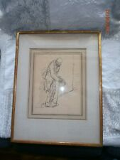 Theophile Alexander Steinlen Pen & Ink Signed Begger Leaning on a Cane Drawing
