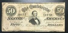1864 $50 Us Confederate States of America! Paper Money Currency! Rough!