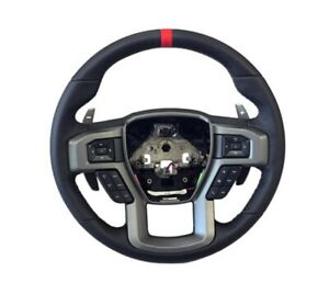 NEW OEM Ford Raptor Black Leather Steering Wheel 2015-2018 F150 Red Gray Stitch