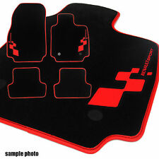 Renault Clio Mk4 (2012+) - Fully Tailored Car Mats + RED Leatherette + LOGO