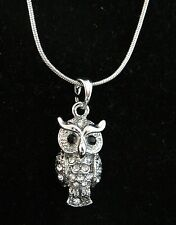 OWL Necklace silver tone Clear crystal Rhinestones Lobster clasp 16 in Sparkle B