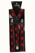 Tartan Red Check Adjustable Braces Mens Women Fancy Dress Clip On Slim 2.5