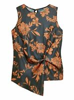Brand New Ex Highstreet Asymmetric Twist Drape Satin Blouse Top Sleeveless Size