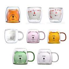 250ml Glass Mugs Cute Bear Cat Animal Double Wall Glass Mug Double-layer Glass M