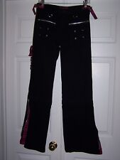 Tripp NYC 5 Jeans Black / Plaid Skull Zipper Pull Wide Flare Goth Punk Rave Emo