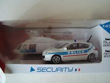 COFFRET HELICOPTERE POLICE NATIONALE ET RENAULT MEGANE 5 PTE  1/43° NEUF