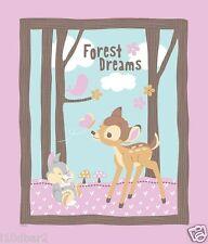 BAMBI FABRIC quilt top BAMBI WOODLAND DREAMS FABRIC PANEL DISNEY FABRIC PINK NEW