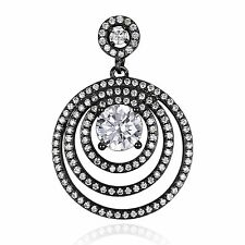 2.5ct 21mm Stunning CZ Necklace Pendant Solid Sterling Silver Black Gold Plated