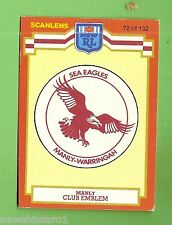 1986 SCANLENS MANLY  SEA  EAGLES  RUGBY LEAGUE CARD #72  LOGO / CHECKLIST