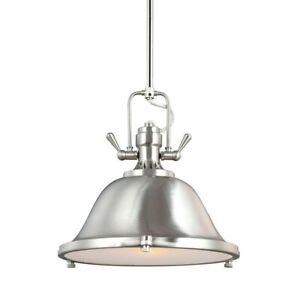 Sea Gull Lighting 6514401BLE-962 Stone Street Pendant Light, Brushed Nickel