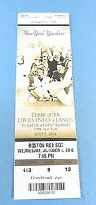 New York yankees vs Boston Red Sox  2012 Ticket w/Stub Wednesday 10/03/2012