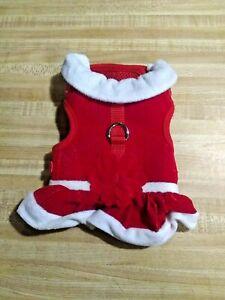 Martha Stewart Pets Baby Girl Size XS Red Velvet Flower Dog Harness Dress