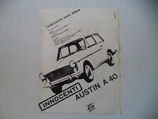 advertising Pubblicità 1961 INNOCENTI AUSTIN A 40
