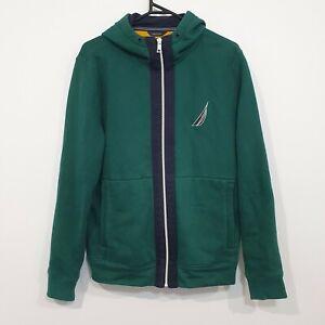 Nautica Mens Green Hoodie Fleece Jacket Size Small