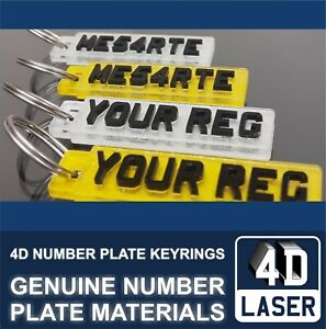 3D 4D Next Gen Laser Cut Car Licence Number Plate Key Ring Fob KeyRing Chain