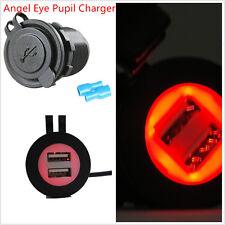 12-24V Dual USB Car Red LED Angel Eye Pupil Charging Socket Power Adapter Outlet