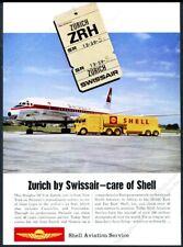 1963 Swissair DC-8 plane photo Shell Aviation oil vintage print ad