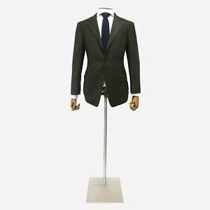 Ermenegildo Zegna Jacket. Dark Green/ Brown Check. Size 38 UK, 48 IT