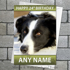 Border Collie personalised birthday card. 5x7 inches. Dog.
