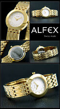 Alfex Ladies Watch of Swiss Made Complete Stainless Steel Hard Gilded Elegant &