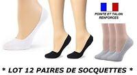 12 MINI SOCQUETTES BALLERINE COURTE INVISIBLE FEMME POINTE ET TALON RENFORCE