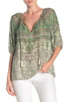 Lucky Brand Top Blouse Kelly Print Peasant Women Green Sz XS NEW NWT 294