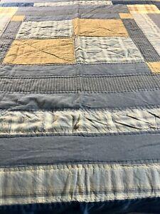 OMG! Woolrich H Quilted Denim Plaids Ticking Fabric Patchwork Quilt 104x91 #465